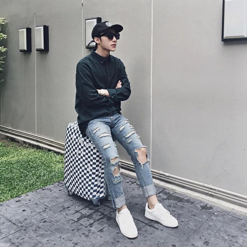 quần jean với áo sơ mi