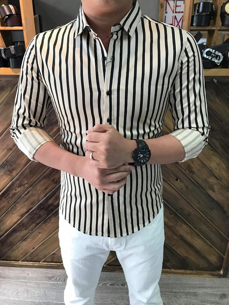 áo sọc kẻ giúp tăng chiều cao cho nam thấp